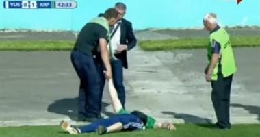 Пьяный болельщик на время прервал матч Волынь - Карпаты