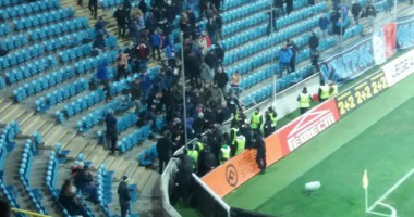 В Одессе на матче фанаты забросали полицию файерами