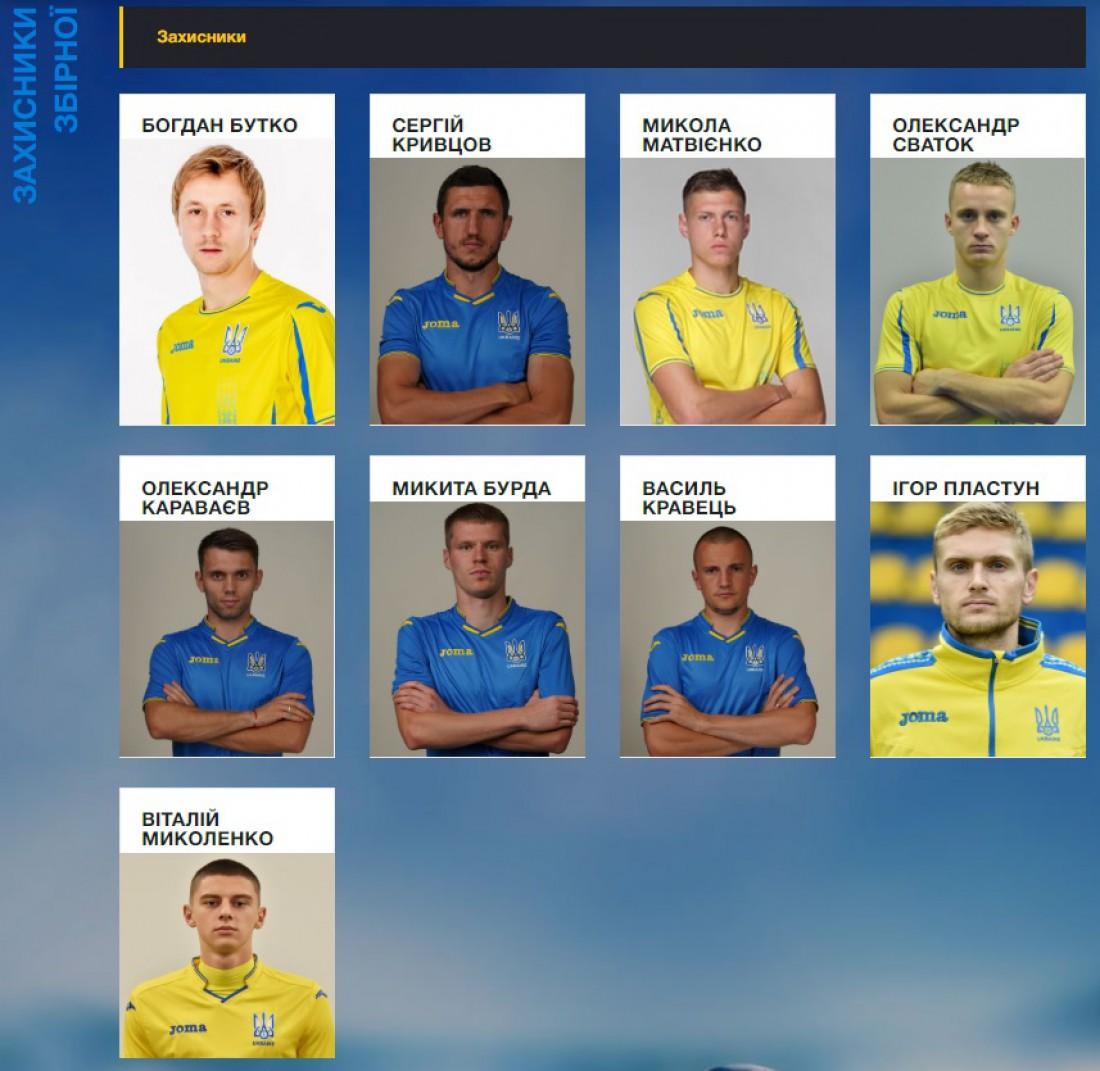 Защитники сборной Украины