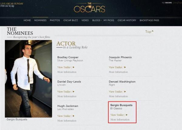 Серхио Бускетс среди номинантов на лучшую мужскую роль. Даже как-то жалко, что то фейк