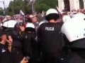 Беспредел. Полиция отбивает нападение польских хулиганов на марш россиян