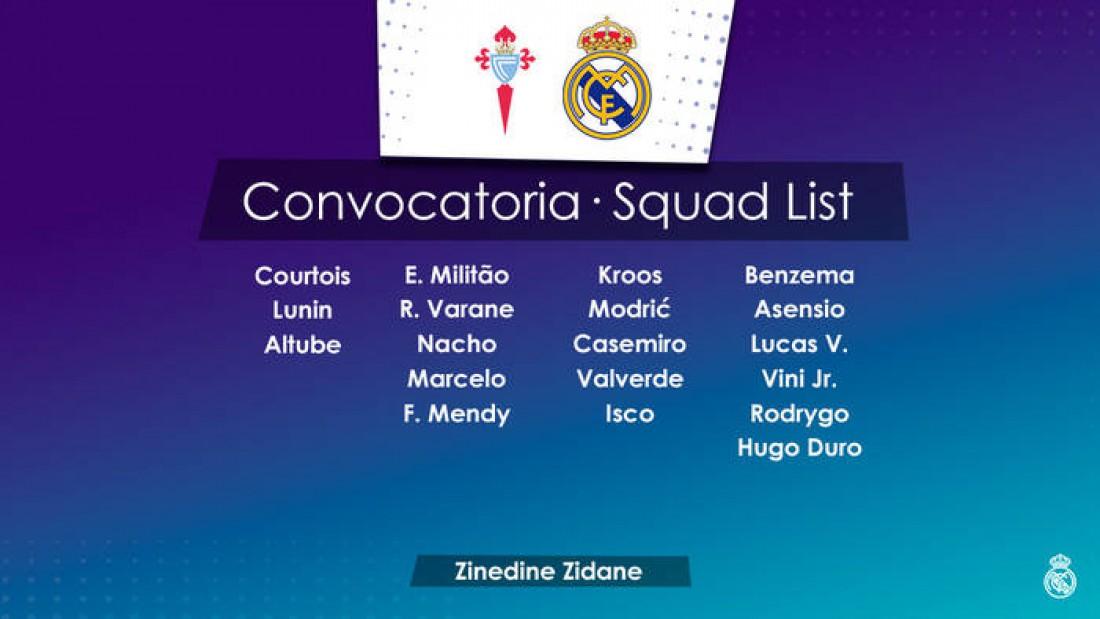Заявка Реала на матч с Сельтой