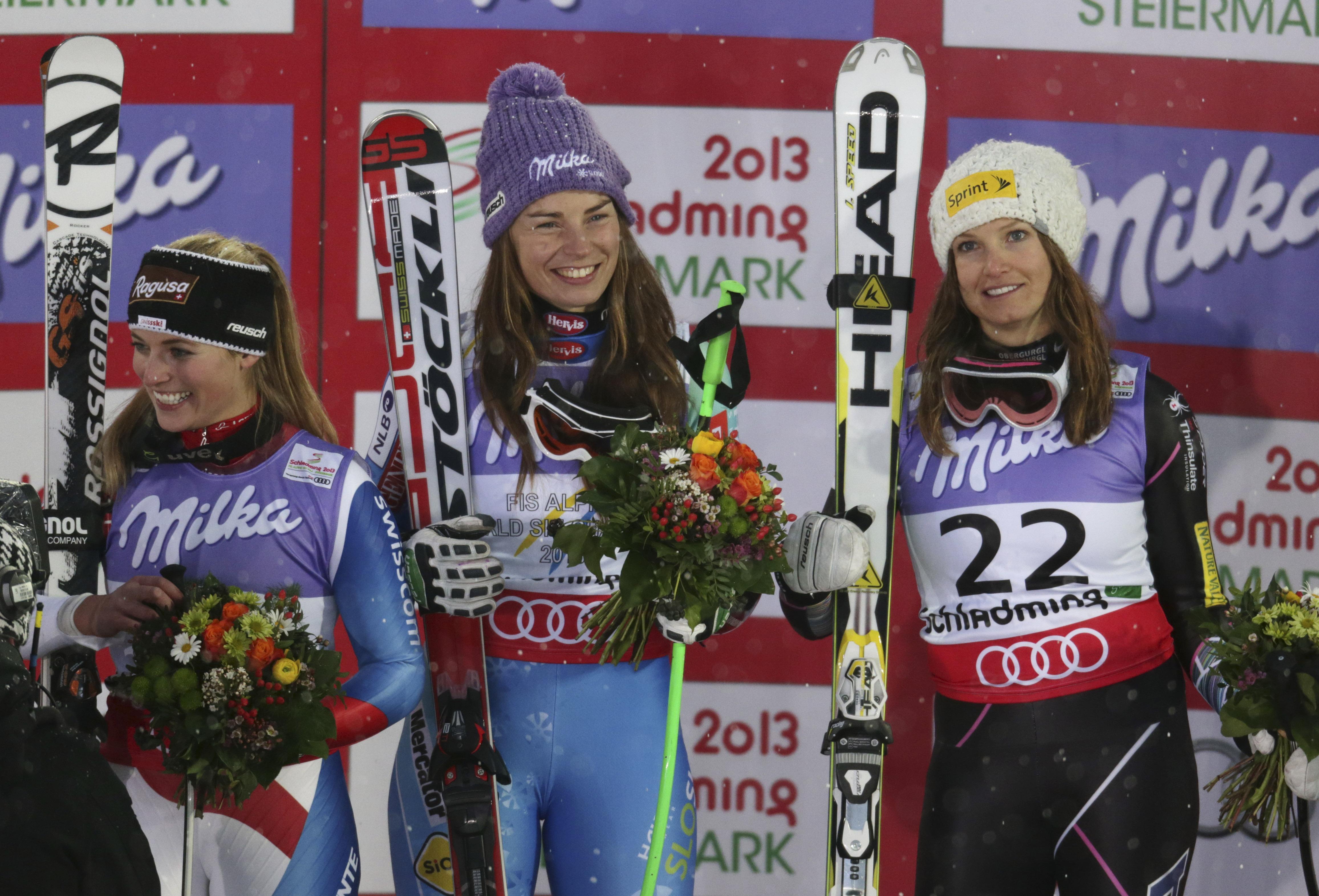 Тина Мазе выиграла супергигант на чемпионате мира в австрийском Шладминге