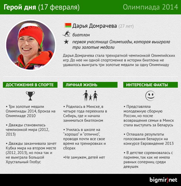 Дарья Домрачева: Героиня одиннадцатого дня Олимпиады в Сочи